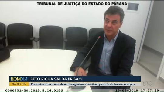Tribunal de Justiça decide soltar o ex-governador Beto Richa