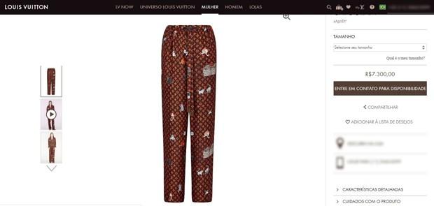 Calça Louis Vuitton que compõe o look de Anitta (Foto: Reprodução / site Louis Vuitton)