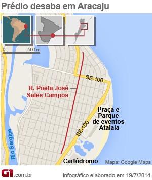 Prédio desaba em Aracaju, SE (Foto: Arte/G1)