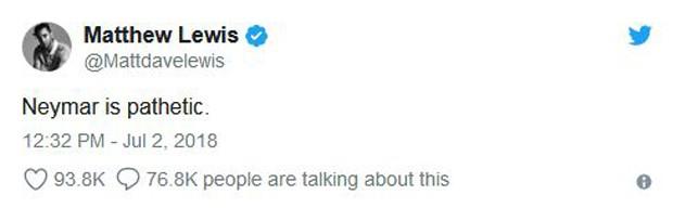 Comentário de Matthew Lewis sobre Neymar (Foto: Reprodução/Twitter)