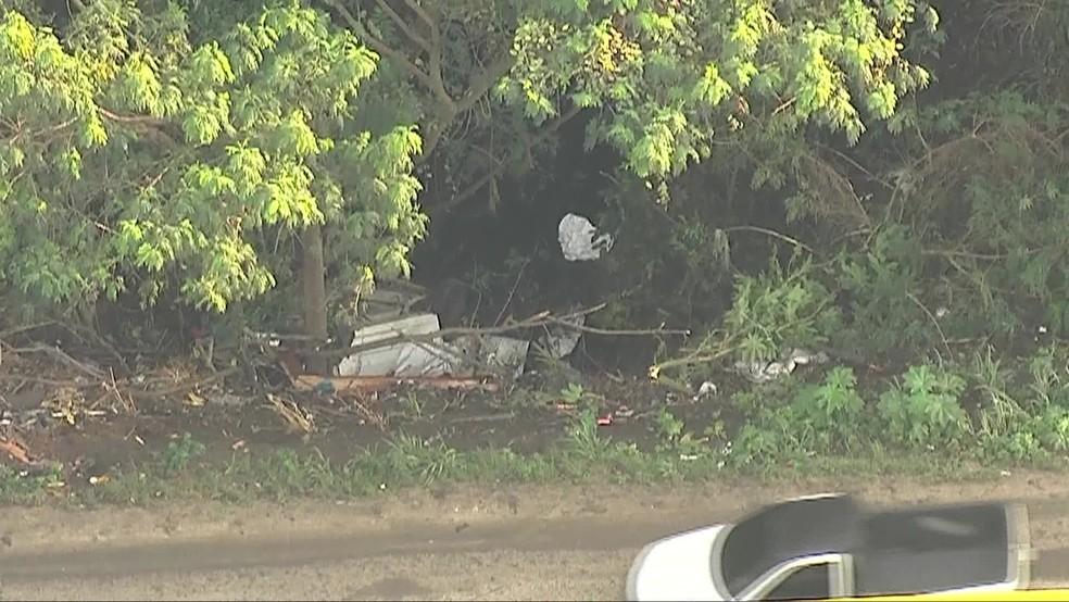 Um dos veículos ficou destruído no acostamento da via — Foto: Reprodução/TV Globo