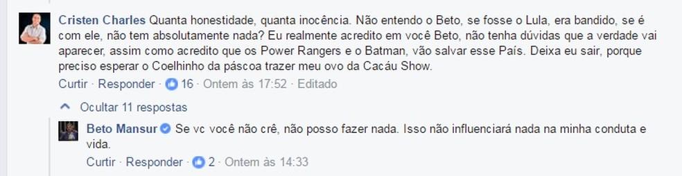 Beto Mansur responde seguidores no Facebook (Foto: Reprodução/Facebook)