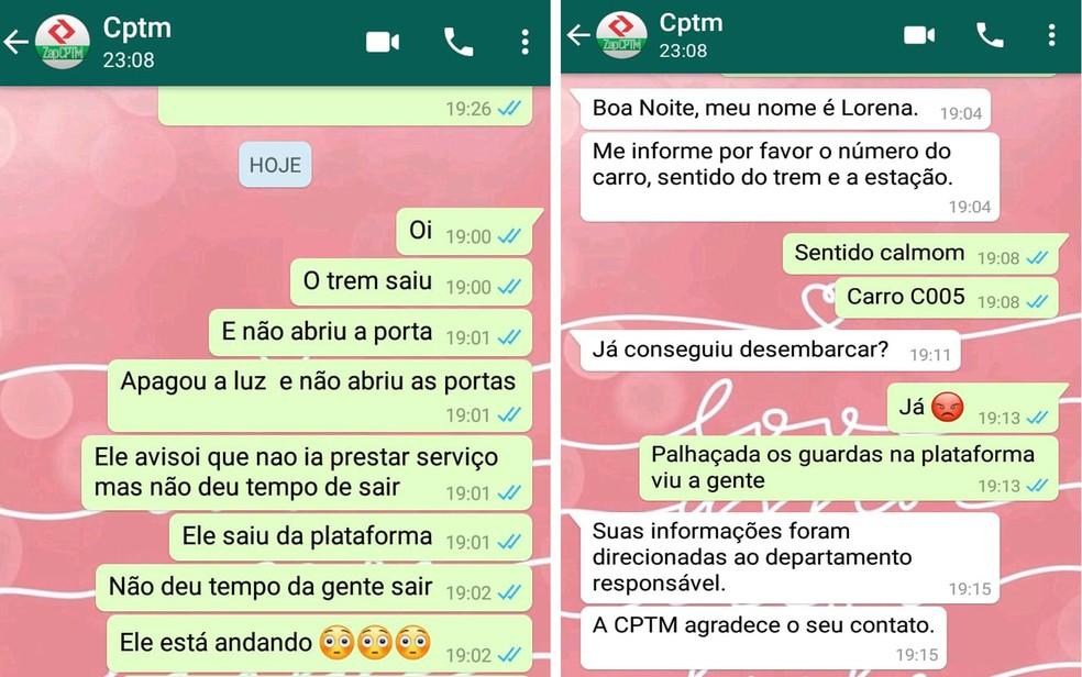 Passageira Denyse acionou funcionários da CPTM por Whatsapp — Foto: Arquivo Pessoal/Denyse Serkeyra