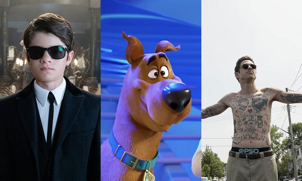 Ferdia Shaw em cena de 'Artemis Fowl: O Mundo Secreto', cena de 'Scooby! O Filme!' e Pete Davidson em cena de 'The king of Staten Island' — Foto: Divulgação