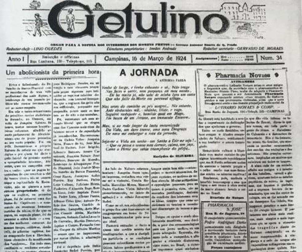 Capa do jornal de Campinas onde bisavô de Bolsonaro trabalhou — Foto: Reprodução