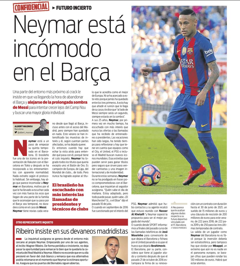 Jornal fala de incômodo de Neymar no Barcelona (Foto: Reprodução / Sport)