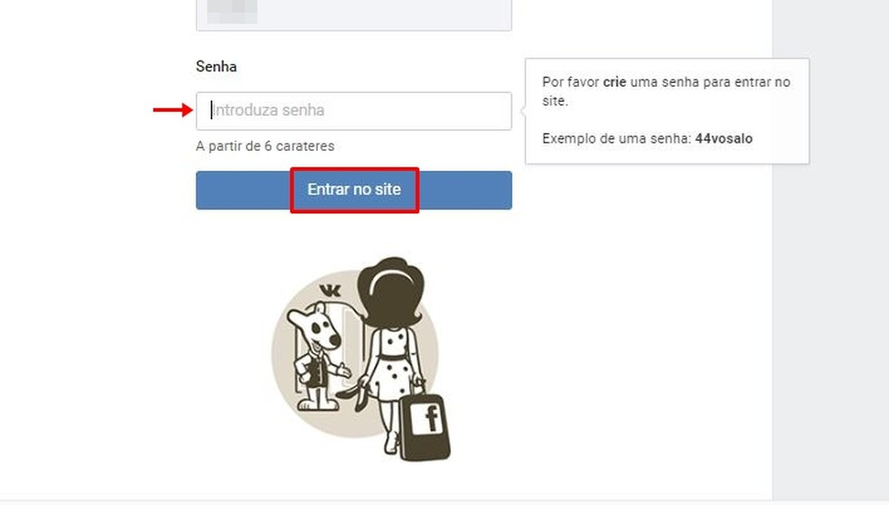 Crie uma senha de acesso ao VK com as especificações da rede social — Foto: Reprodução/Taysa Coelho