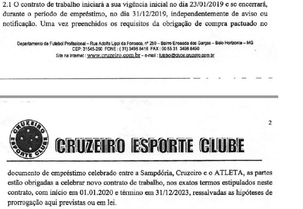 Contrato de empréstimo do Cruzeiro com Dodô — Foto: Reprodução