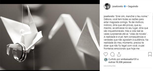 José Loreto escreve carta aberta a Débora Nascimento (Foto: Reprodução/Instagram)