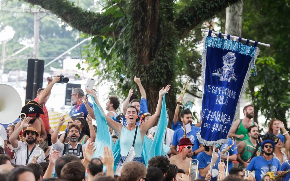 O bloco Charanga do França ensaiou neste domingo (13) na rua Cardeal Arcoverde, em Pinheiros — Foto: Alice Vergueiro/Estadão Conteúdo