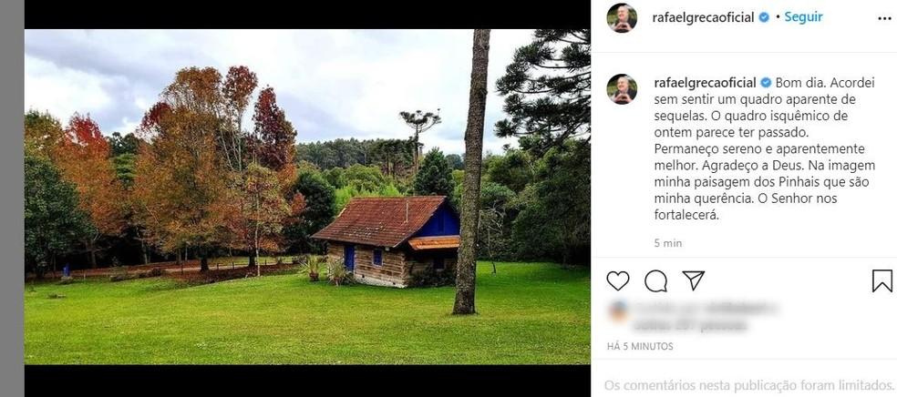 Greca fez a postagem nas redes sociais na manhã desta quarta-feira (21) — Foto: Reproduçao/Instagram
