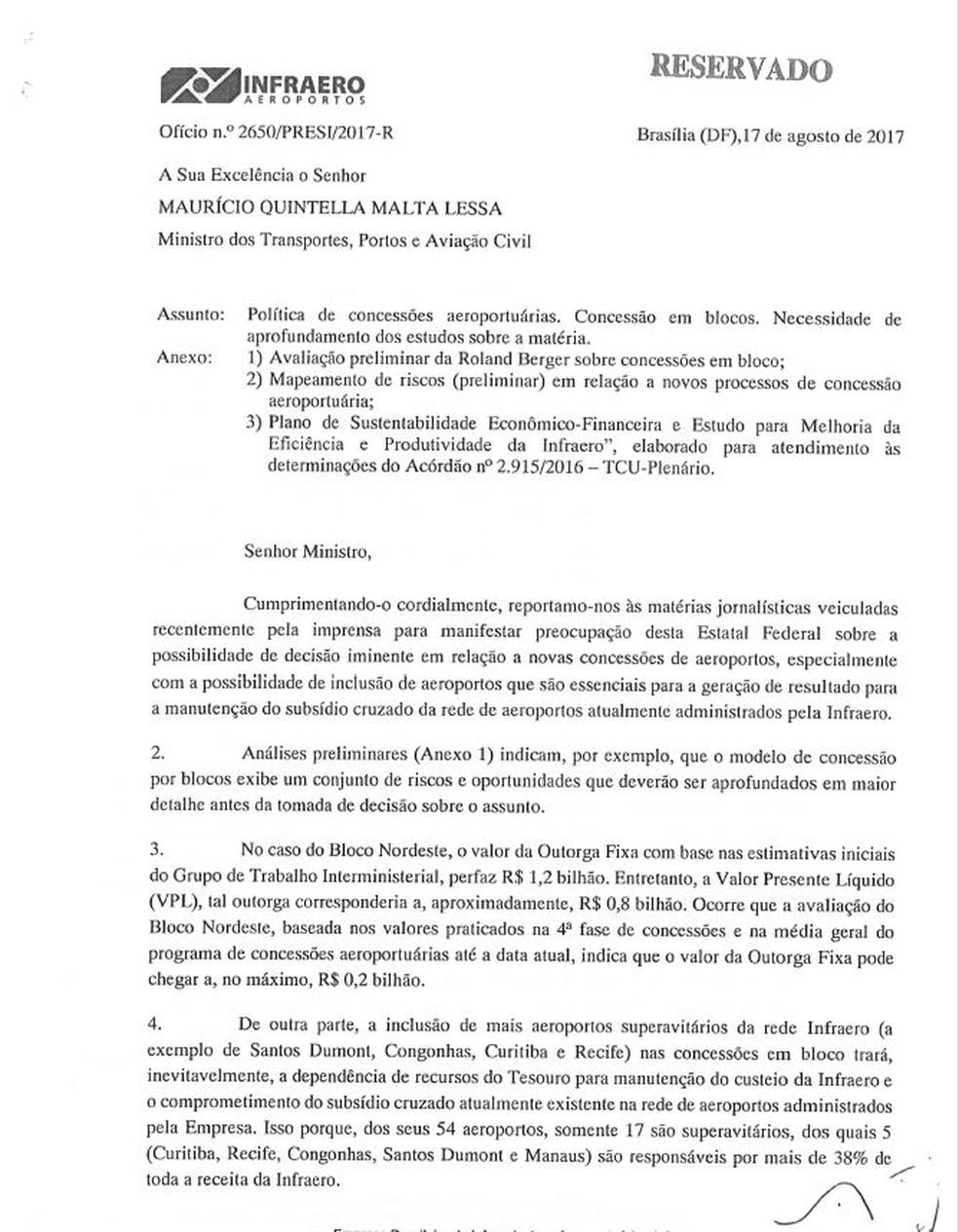 Ofício da Infraero (Foto: Reprodução)