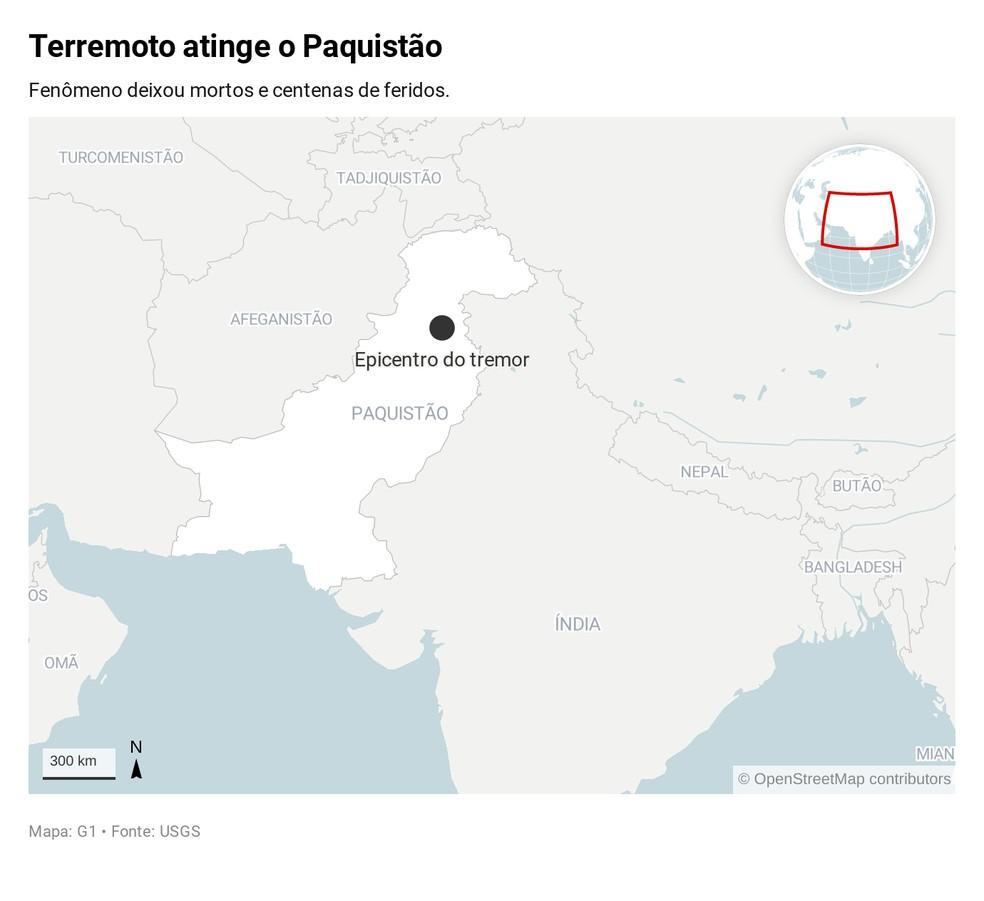 Terremoto deixa mortos e feridos no Paquistão — Foto: G1