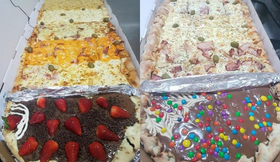 Pizza Bitrem (à esquerda) e Trem (à direita) (Foto: Arquivo pessoal)
