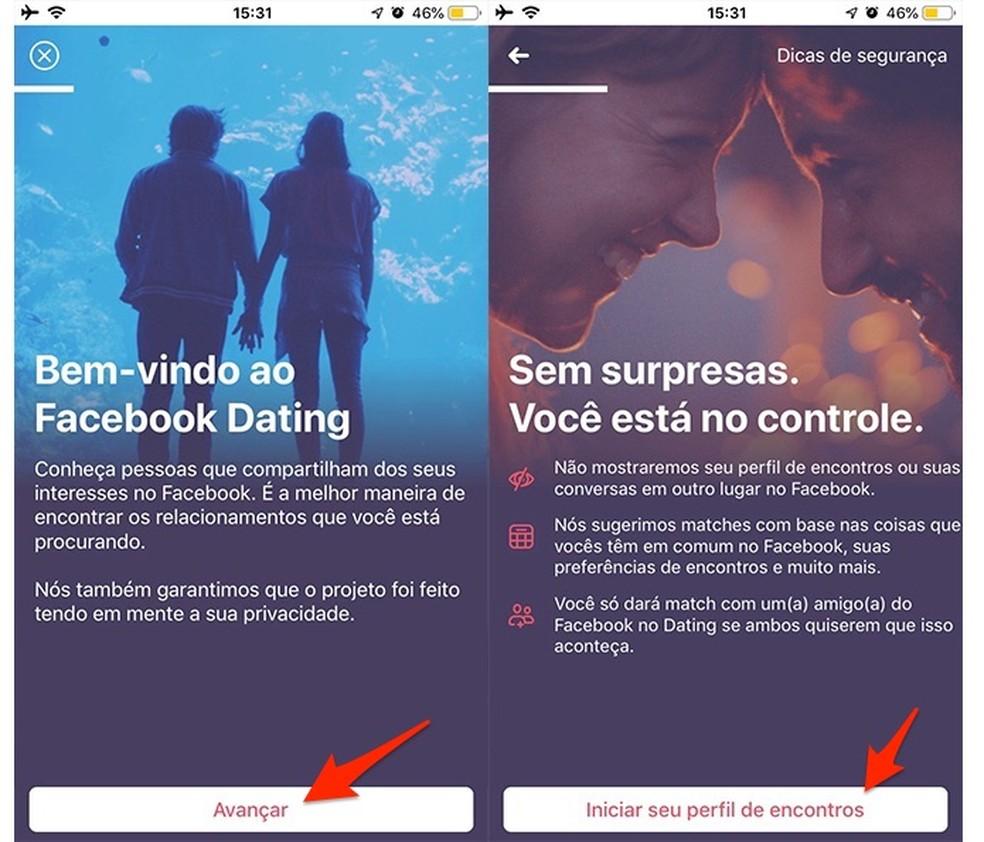 Ação para iniciar a configuração de um novo perfil na plataforma Dating do Facebook — Foto: Reprodução/Marvin Costa