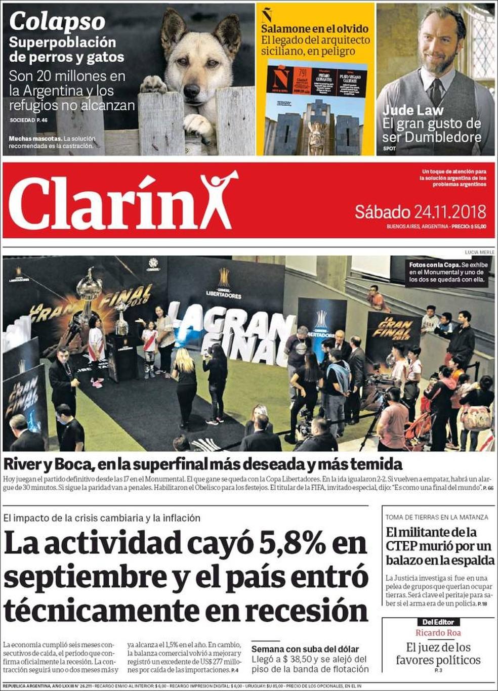 Capa Clarín final Libertadores — Foto: Reprodução