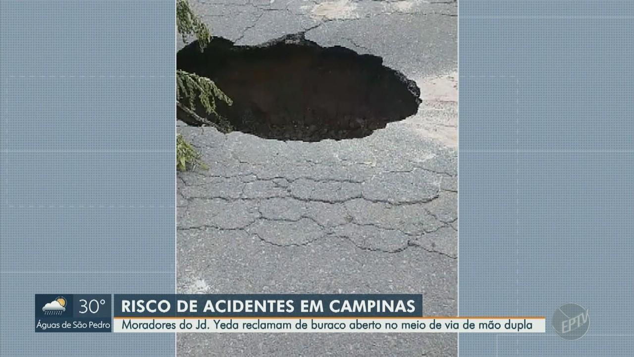 Moradores reclamam de buraco aberto no Jardim Yeda, em Campinas