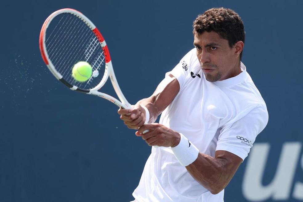 Thiago Monteiro em ação no US Open — Foto: Matthew Stockman / Getty Images