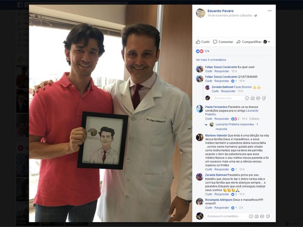Publicação de educador físico em rede social traz foto com o otorrinolaringologista Fayez Bahmad, responsável pela cirurgia; em comentários, pessoas demonstram interesse em passar pelo procedimento (Foto: Facebook/Reprodução)