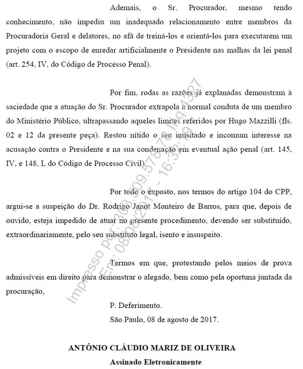 Pedido da defesa do presidente Michel Temer ao Supremo Tribunal Federal para que declare Rodrigo Janot suspeito (Foto: Reprodução)