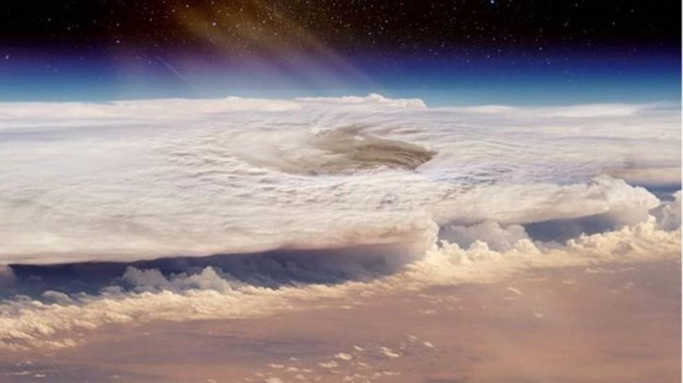 Modelos de computador mostram fortes ventos com força semelhante à de um furacão, movendo-se de um lado para o outro em exoplanetas — Foto: Getty Images