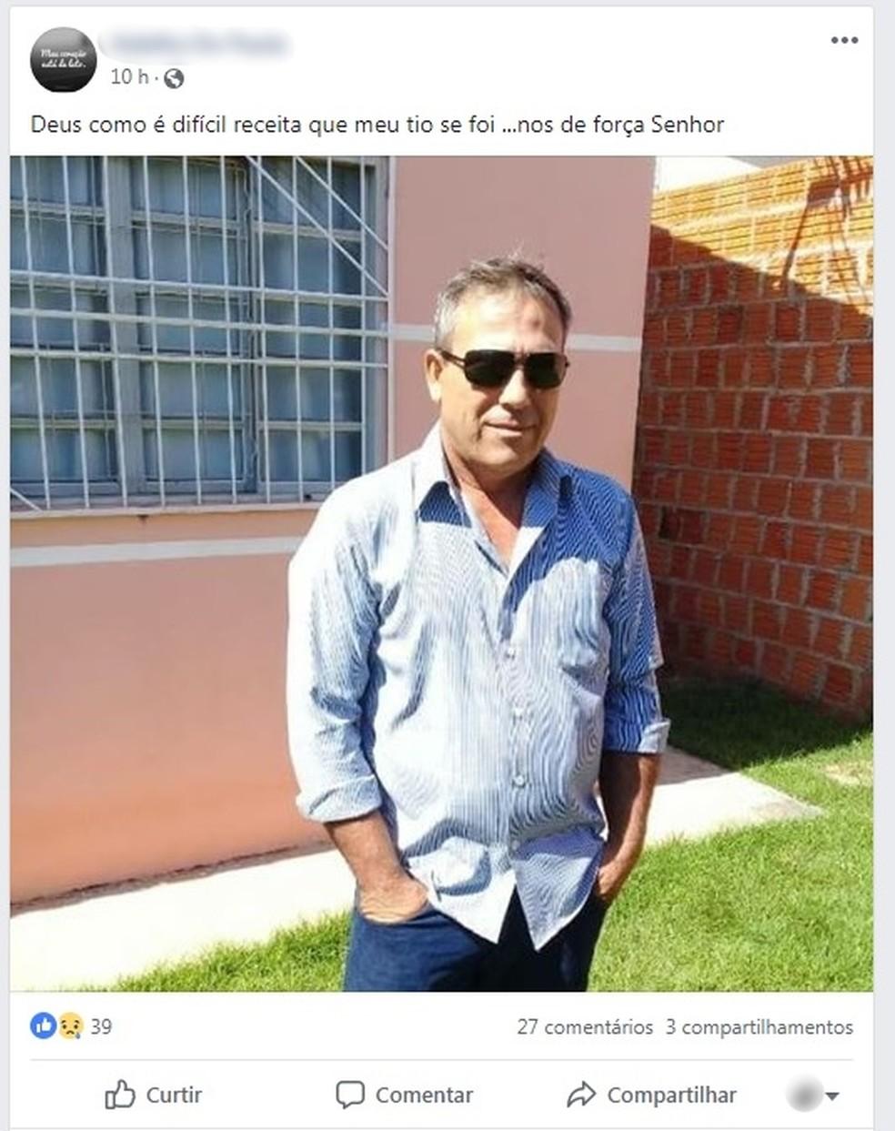 Enedil foi encontrado morto dentro de residência em Cuiabá — Foto: Facebook/Reprodução