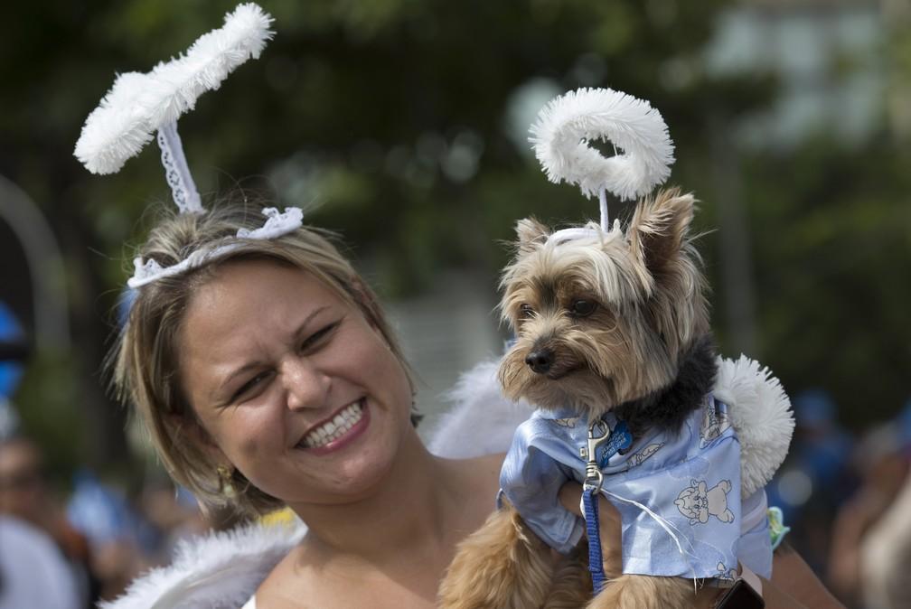 Mulher e seu cachorro desfilam em bloco vestidos de anjo, no Rio (Foto: Silvia Izquierdo/AP)