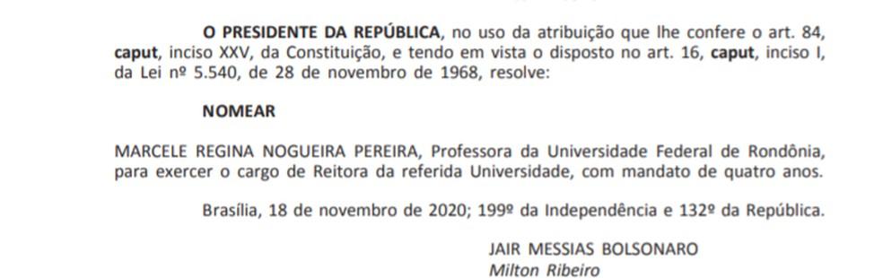 Nomeação, no Diário Oficial, da Prof. Dra. Marcele Regina Nogueira Pereira, como reitora da Unir.  — Foto: Diário Oficial/Reprodução