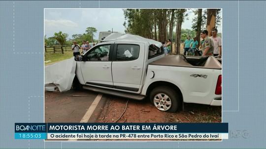 Motorista morre após bater caminhonete contra árvore, PR-478