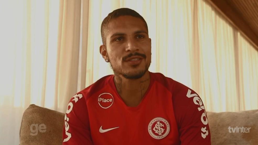 Guerrero fez a primeira manifestação à TV do clube (Foto: Reprodução/TV Inter)