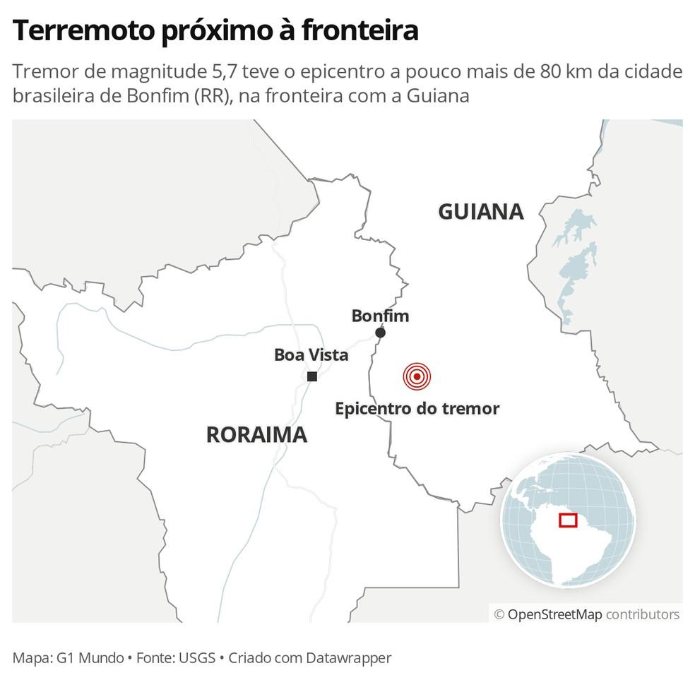 Tremor na fronteira entre Guiana e Brasil — Foto: G1 Mundo