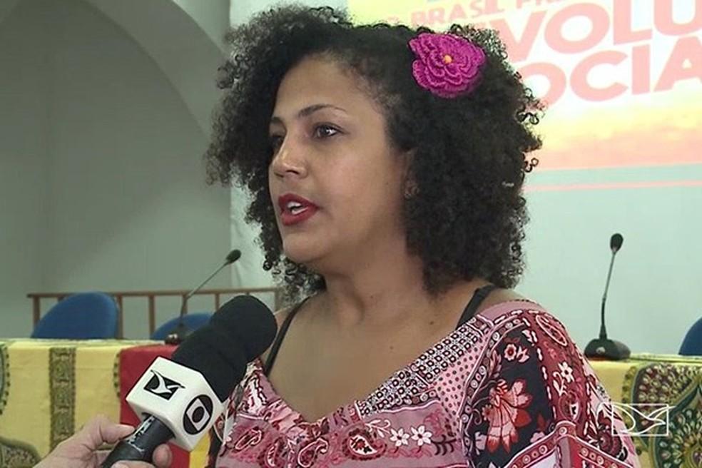 Preta Lú está na disputa por uma vaga ao Senado pelo PSTU (Foto: Reprodução / TV Mirante)