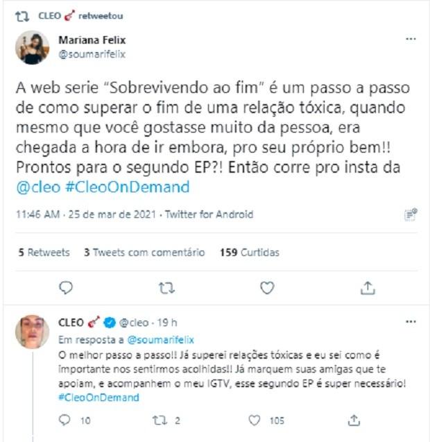 Cleo comenta a websérie Sobrevivendo ao Fim (Foto: Reprodução/Twitter)