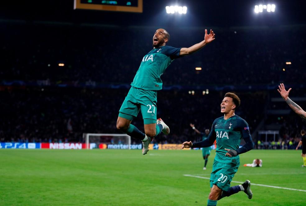 Lucas Moura foi o herói do jogo contra o Ajax na semifinal da Champions — Foto: Reuters