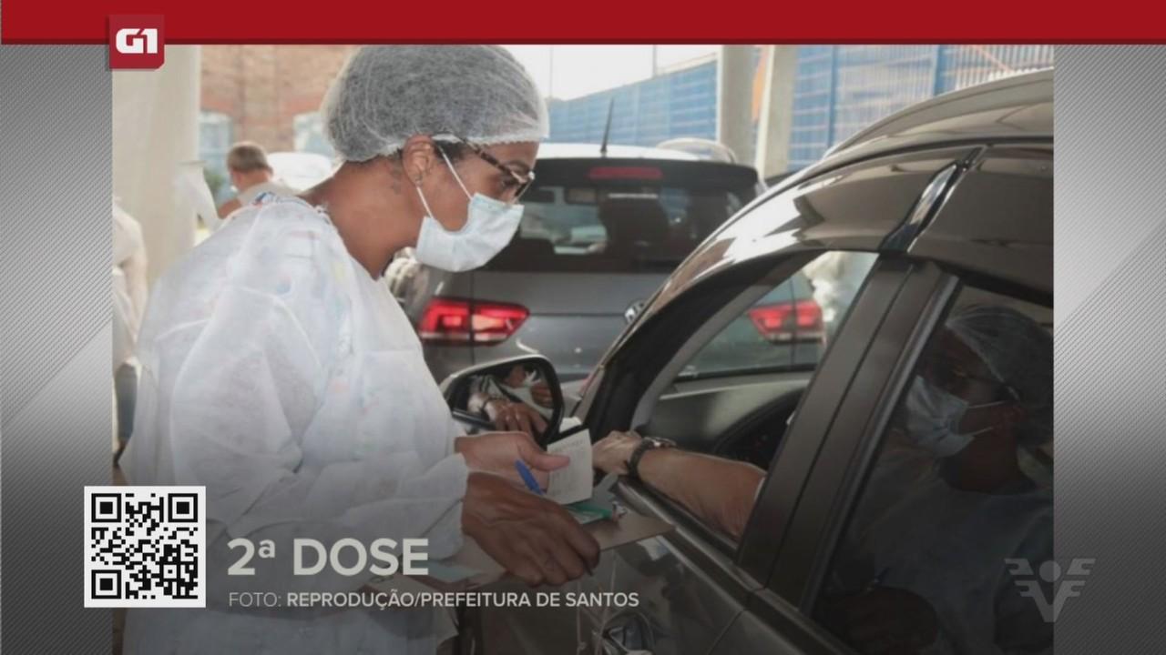 G1 em 1 Minuto - Santos: Santos inicia aplicação da 2ª dose em idosos a partir de 75 anos