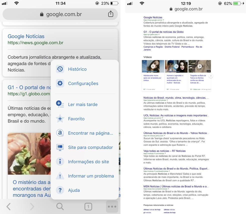 Chrome para celular permite abrir sites como se estivesse no computador — Foto: Reprodução/Rodrigo Fernandes