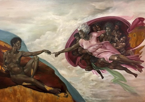 """""""A Criação de Adão"""", de Michelangelo, pelas mãos e olhar da artista norte-americana Harmonia Rosales  (Foto: Reprodução/Instagram)"""