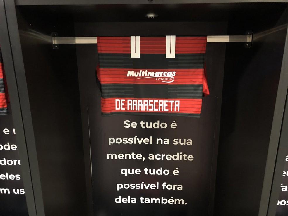 Mensagens no vestiário do Flamengo — Foto: Flamengo