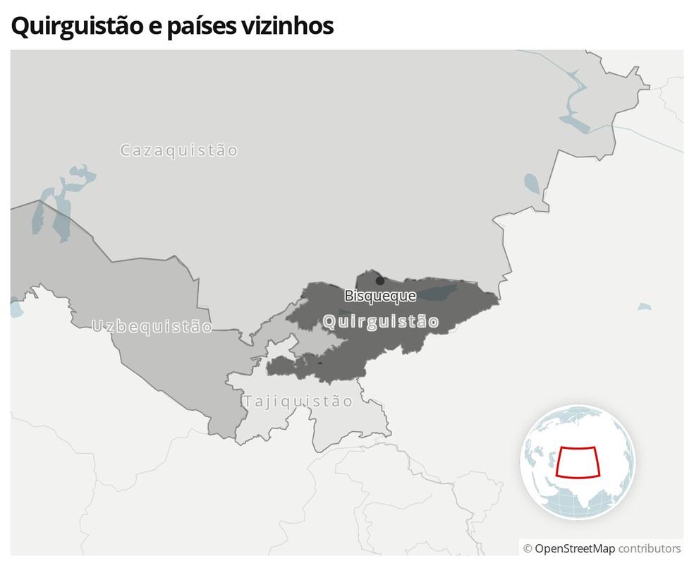 Mapa mostra a localização do Quiguistão e os países vizinhos — Foto:  G1