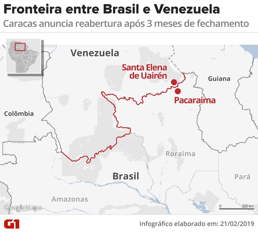 Mapa mostra fronteira da Venezuela com o Brasil — Foto: Infografia: G1