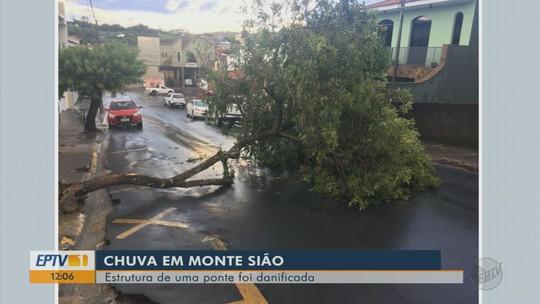 Chuva forte causa deslizamentos de terra e interdita ponte em Monte Sião