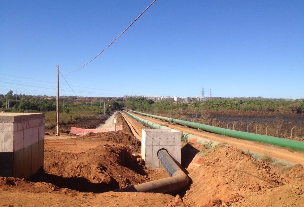 Obras de captação de água no Bananal, no DF (Foto: Bianca Marinho/G1)