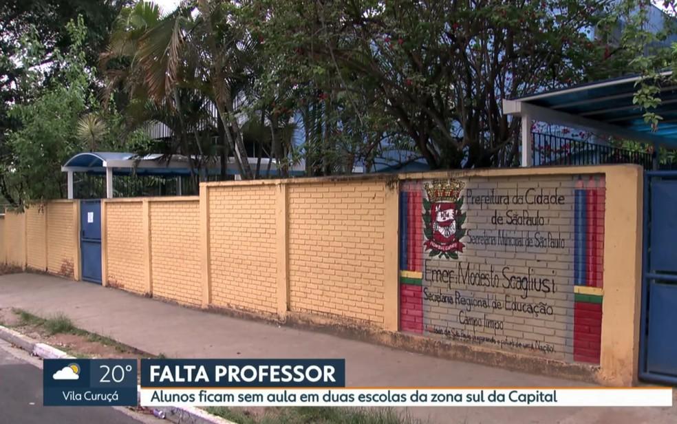 Na EMEF Modesto Scagliusi, no Campo Limpo, os alunos estão sem aulas de Ciências desde o final de setembro (Foto: Reprodução/TV Globo)