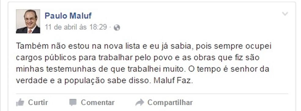 Paulo Maluf fala no Facebook sobre lista de Fachin (Foto: Reprodução/ Facebook)