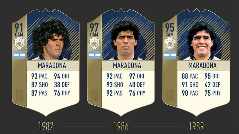 FIFA 18: confira as três cartas de Maradona (Foto: Divulgação / EA)