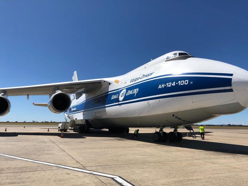 Antonov 124-100 fez o segundo pouso em Viracopos neste ano — Foto: André Gasperi
