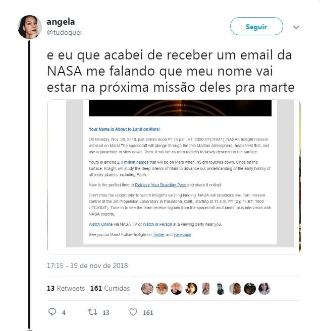 A @tudoguei compartilhou também o e-mail enviado para agência espacial (Foto: Twitter/Reprodução)