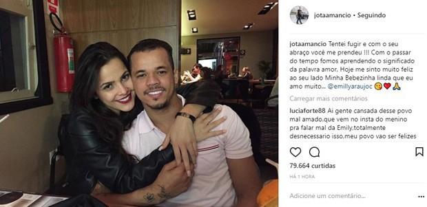 Post do empresário com Emilly, divulgado dia 17 de janeiro, foi deletado (Foto: Reprodução/Instagram)