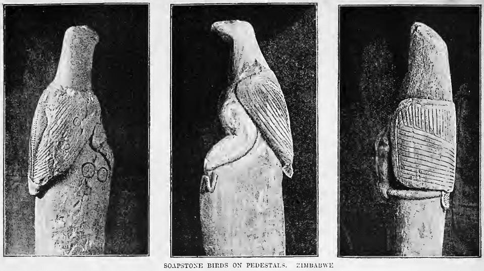 Pássaros de pedra-sabão do Zimbábue (Foto: Wikimedia Commons)