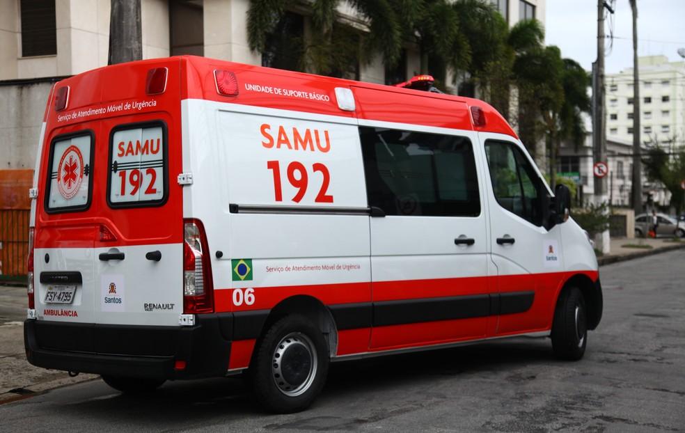 Ambulância do SAMU foi assaltada durante atendimento a grávida (Foto: Isabela Carrari/Prefeitura de Santos)